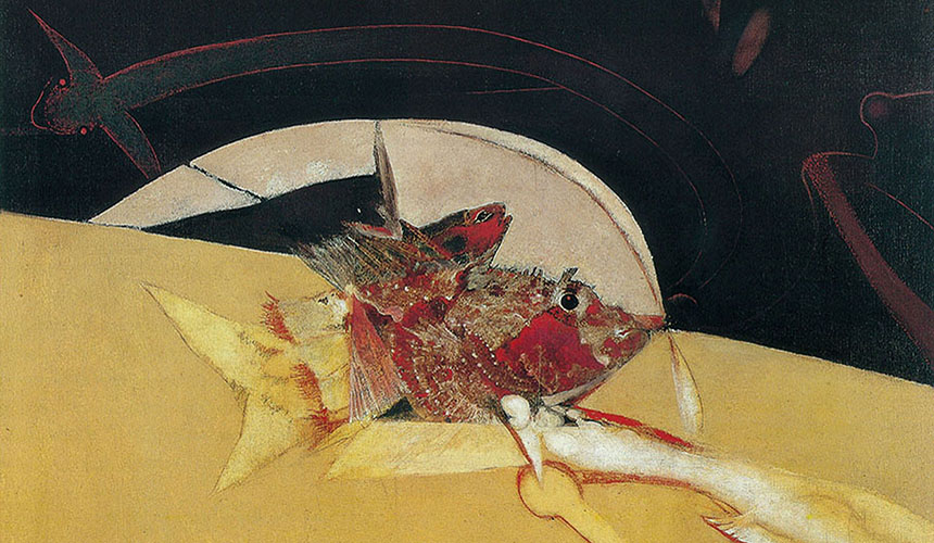 Herb Greene, Decoy Fish collage painting