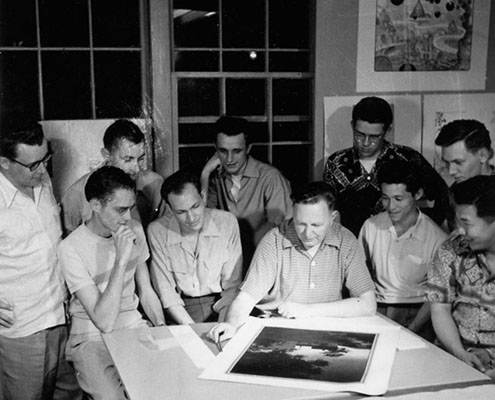 Bruce Goff with students-in-the-early-1950s in Building 604 on the North Base